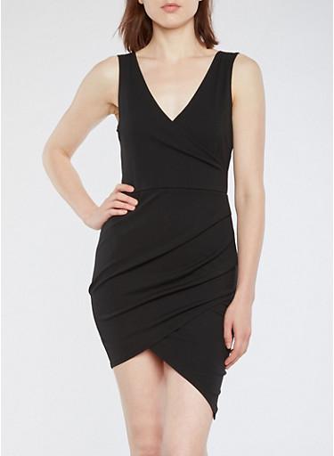 Crepe Knit Faux Wrap Bodycon Dress,BLACK,large