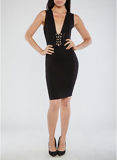 Sleeveless Bodycon Dress with Lace Up Front Detail,BLACK,large