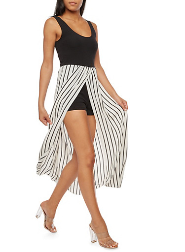 Crepe Knit Romper with Striped Maxi Skirt Overlay,BLACK/WHITE,large