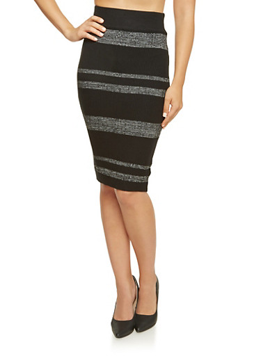 Striped Knit Skirt,BLK-LT GRY,large