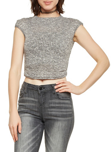 Funnel Neck Crop Top in Rib Knit,CHARCOAL,large