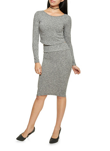 Marled Knit Pencil Skirt,CHARCOAL,large