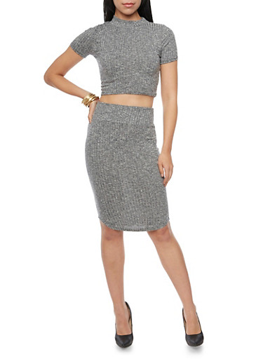 Ribbed Knit Pencil Skirt,CHARCOAL,large