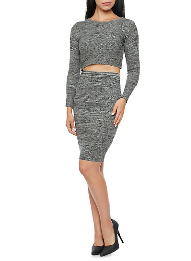 Long Sleeve Crop Top in Marled Knit,BLACK,large