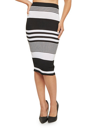 Knit Midi Skirt in Stripes,BLACK/WHITE,large
