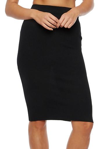 Midi Skirt in Ribbed Knit,BLACK,large