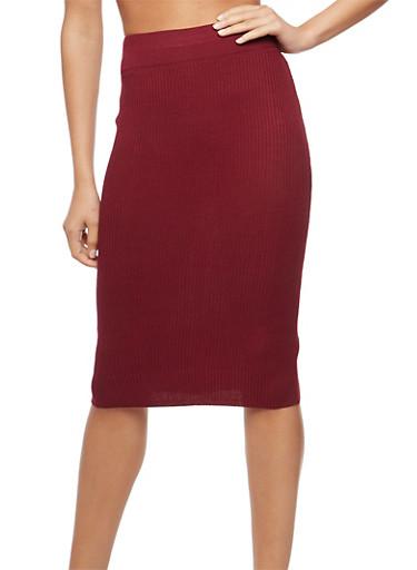 Rib Knit Pencil Skirt,WINE,large