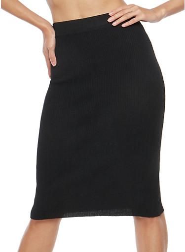 Rib Knit Pencil Skirt,BLACK,large
