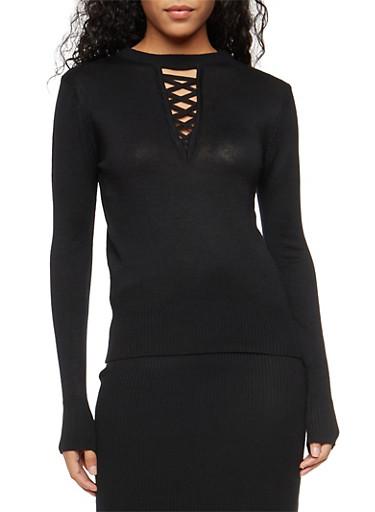 Caged Keyhole Neck Sweater,BLACK,large