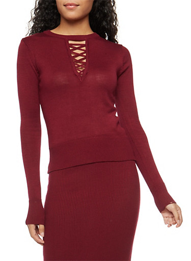 Caged Keyhole Neck Sweater,WINE,large