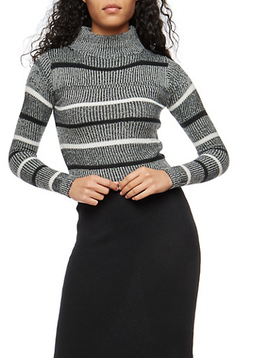 Striped Marled Sweater,BLACK,large