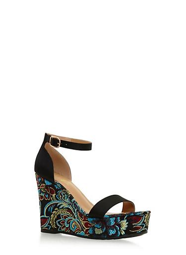 Ankle Strap Wedge Sandals,BLACK SATIN,large