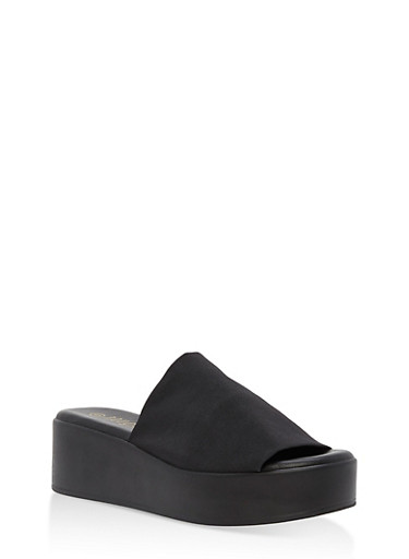 Thick Strap Platform Slide Sandals,BLACK GSG,large