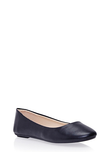 Flats with Round Toes,BLACK PU,large