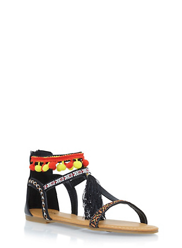 Sandals with Pom Pom and Tassel Accents,BLACK,large