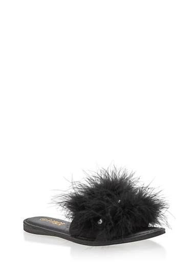 Furry Rhinestone Slide Sandals,BLACK F/S,large