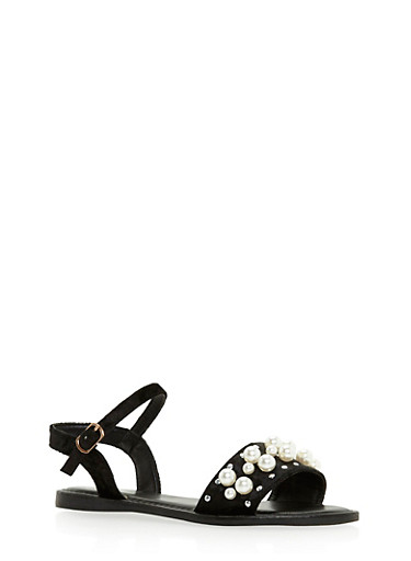 Pearl Studded Ankle Strap Sandals at Rainbow Shops in Daytona Beach, FL | Tuggl