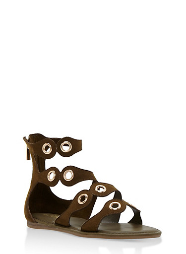 Strappy Sandal with Metal Accents,OLIVE F/S,large
