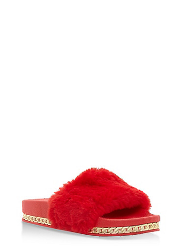 Faux Fur Slides with Chain Link Trim,RED,large