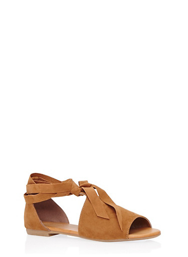 Open-Toe Sandals with Ankle Ties,CHESTNUT,large