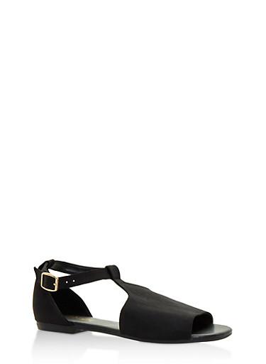 Hooded T Strap Sandals,BLACK SATIN,large