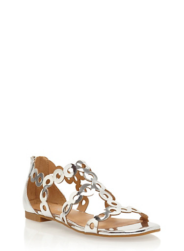 Metallic Strappy Circle Punch Sandals,SILVER PATENT,large