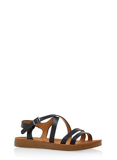 Criss Cross Ankle Strap Sandals,BLACK PU,large