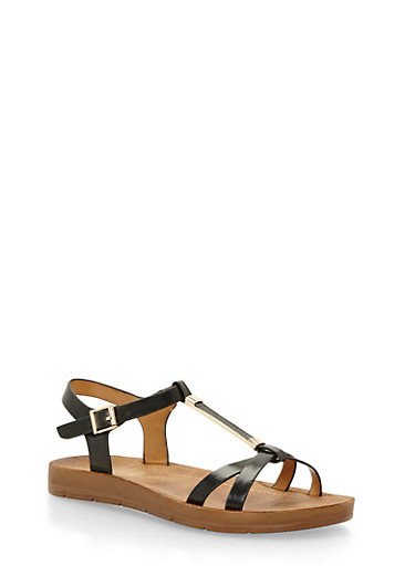Faux Leather T Strap Sandals with Metal Detail,BLACK PU,large
