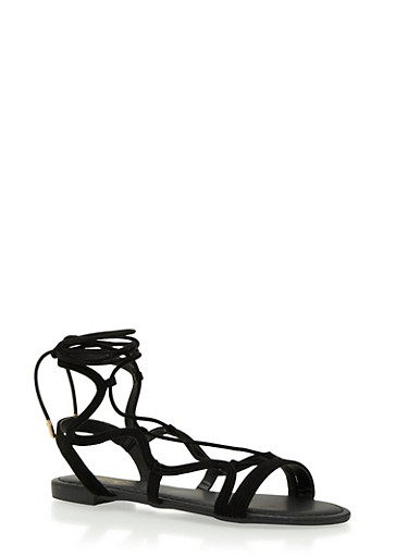 Lace-Up Sandals,BLACK,large