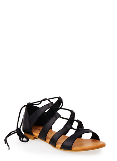 Lace-Up Sandals with Ankle Ties,BLACK,large