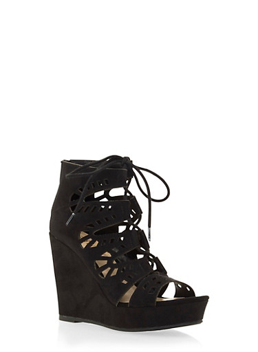 Faux Suede Platform Wedges wiuth Lace-Up Front,BLACK,large