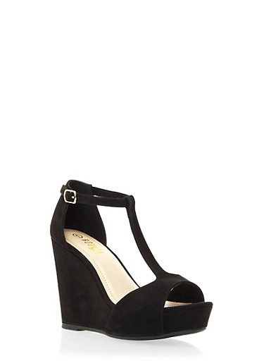 Faux Suede T-Strap Platform Wedges,BLACK,large