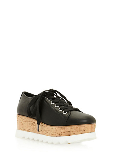 Lace Up Shoe with Corkscrew Platform Detail,BLACK CRP,large