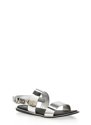 Metallic Double Strap Sandals,SILVER PATENT,large