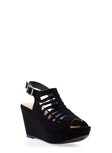Faux Suede Platform Wedges with Geometric Lasercuts,BLACK,large