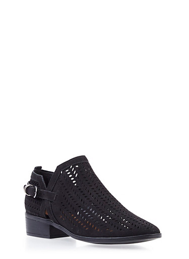 Perforated Faux Suede Ankle Bootie with Buckle,BLACK,large
