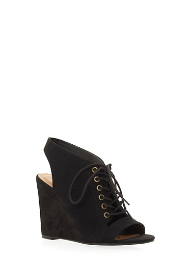 Faux Suede Open-Toe Wedges with Lace-Up Front,BLACK,large
