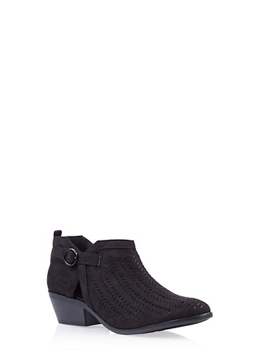 Perforated Faux Suede Ankle Bootie with Wooden Stacked Heel,BLACK,large