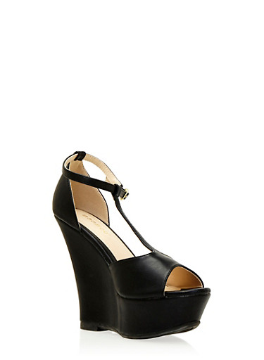 Faux Leather Platform T-Strap Wedges with Open Toes,BLACK,large