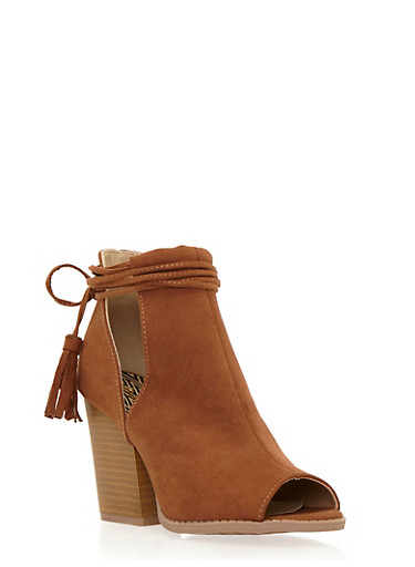 Faux Suede Ankle Boots with Side Cutouts,RUST,large