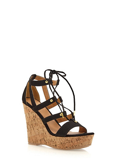 Faux Suede Platform Wedges with a Cork Wedge,BLACK,large