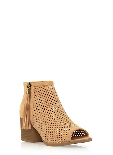 Peep-Toe Ankle Boots in Perforated Faux Suede,TOFFEE,large
