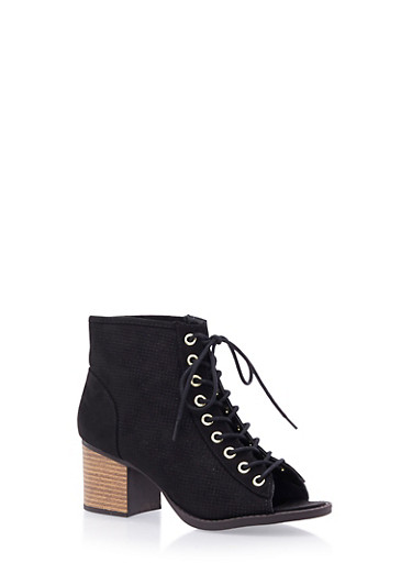 Perforated Faux Suede Ankle Boots with Open Toes,BLACK,large