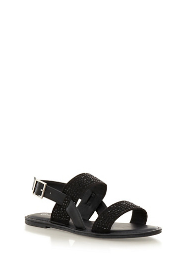 Buckle Sandals With Double Rhinestone Straps,BLACK,large