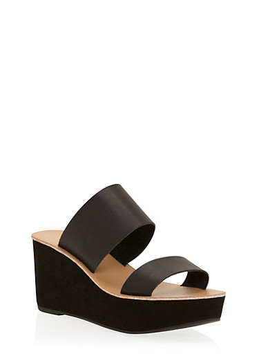 Double Strap Wedge Slide Sandals,BLACK,large