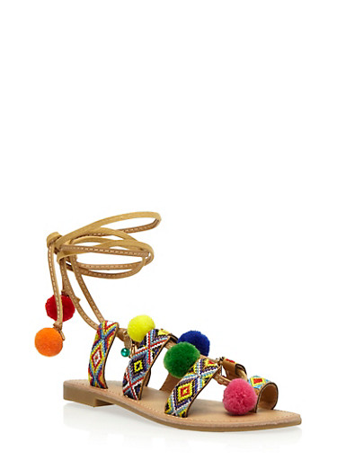 Embroidered Sandals with Pom Pom and Faux Pearl Charms,NATURAL MULTI,large