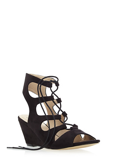 Caged Lace Up Wedge Heels with Brushed Faux Suede,BLACK F/S,large