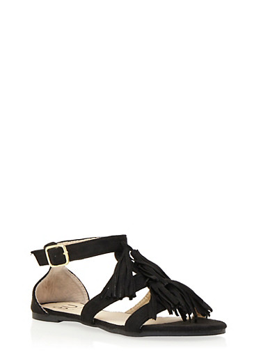 Tassel Sandals with Buckled Ankle Strap,BLACK F/S,large