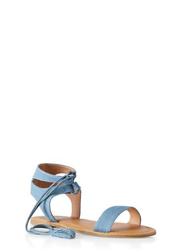 Denim Lace-Up Sandals,BLUE DENIM,large