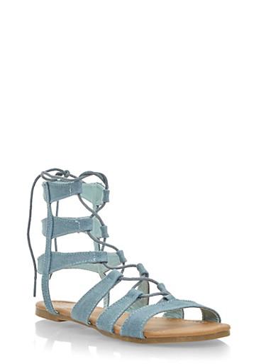 Denim Gladiator Sandals,BLUE DENIM,large